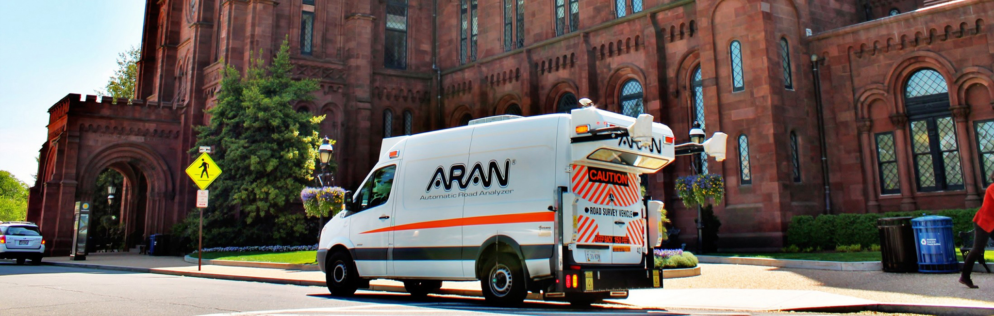 An ARAN automatic road analyzer conducts a road condition survey