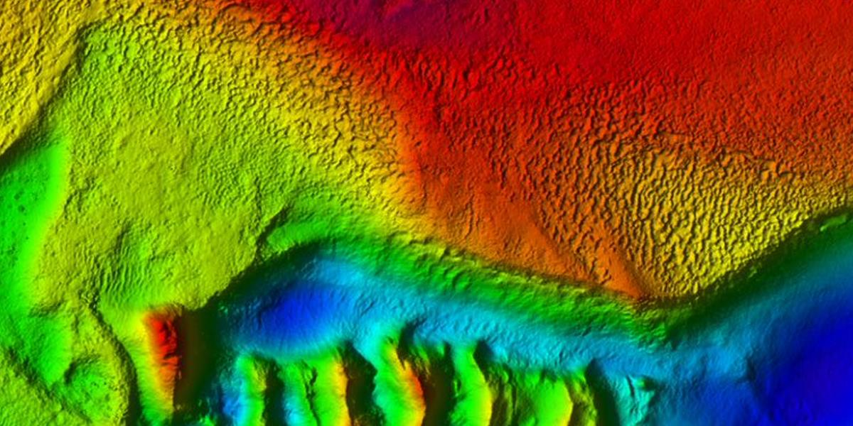 Bathymetry showing a possible erosional surface with a hard rugged seabed