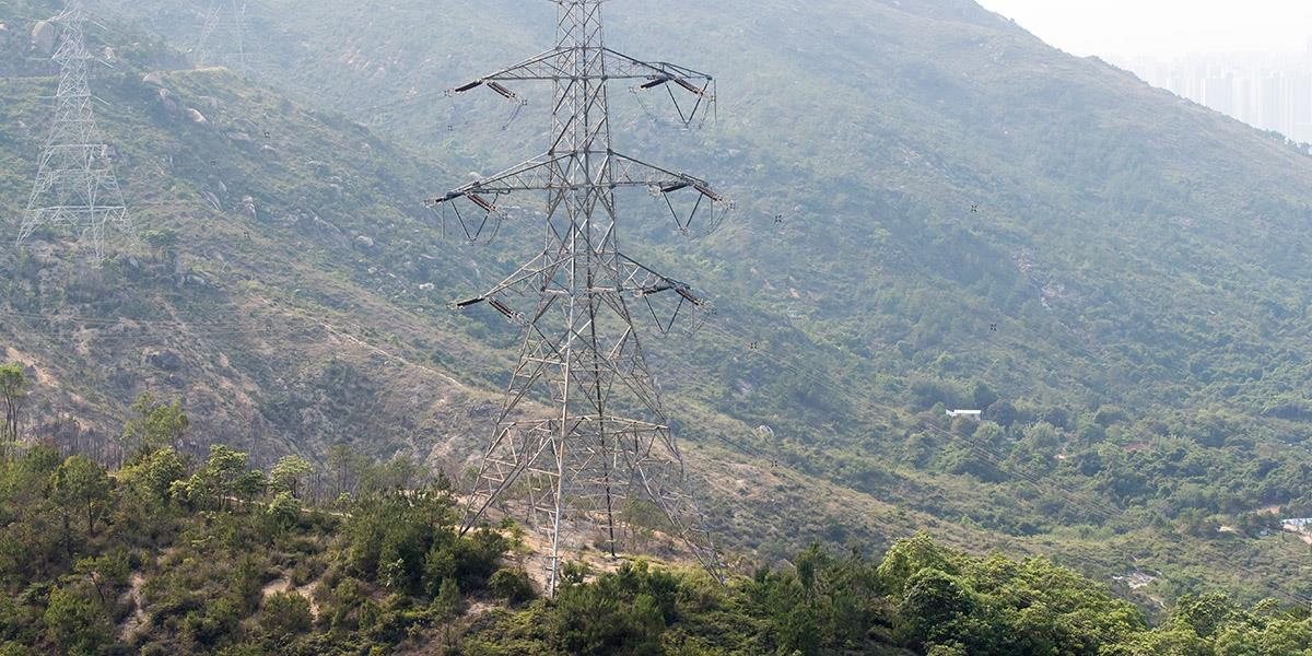 Pylons supporting Hong Kong's electricity network