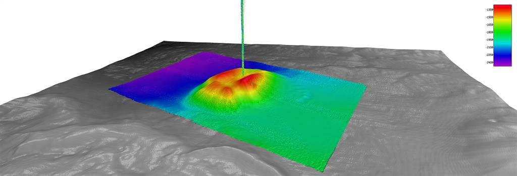 An actively seeping mud volcano as imaged by the MBE system of the Fugro Brasilis during calibration efforts