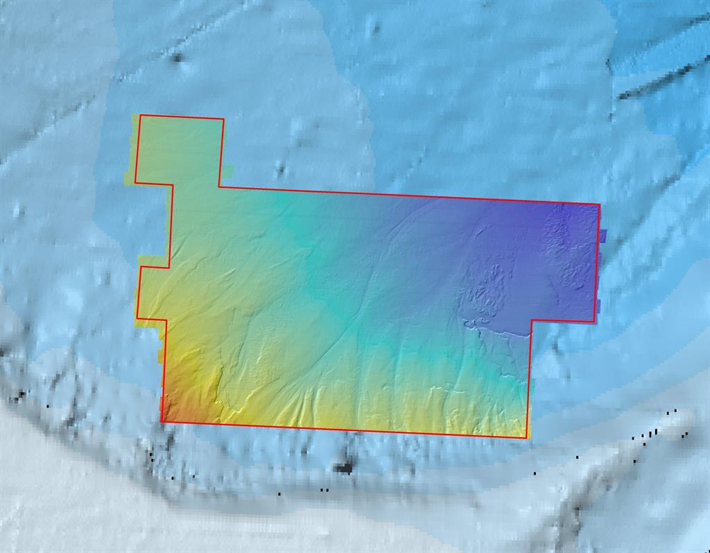 High-resolution bathymetric data acquired by Fugro, draped over pre-existing, publicly available GEBCO data for comparison