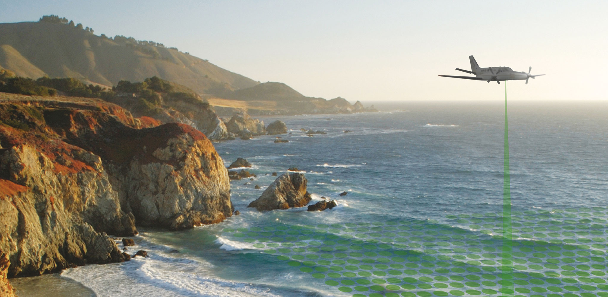 An airplane collects offshore bathymetry data